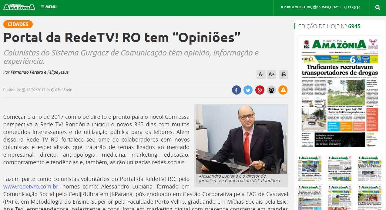 Portal da Amazônia: Atendimento ao cliente no Portal Diário da Amazônia, filiada a Rede TV